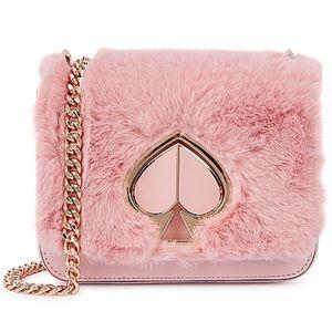 Kate Spade Nicola Pink Faux Fur Crossbody Clutch